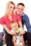 A happy family was sitting on the floor Royalty Free Stock Images