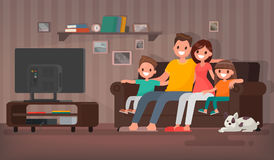 Happy family watching television sitting on the couch at home. V. Ector illustration in a flat style Stock Images