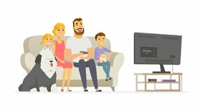 Happy family watching TV - modern cartoon people characters illustration. Isolated on white background. Mother with two children, husband, bobtail dog sitting Stock Images