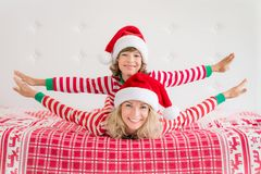 Happy family in Christmas eve Royalty Free Stock Photos