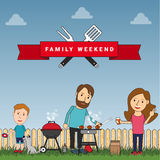 Happy family weekend or picnic: mother, father and their son pla Stock Photography