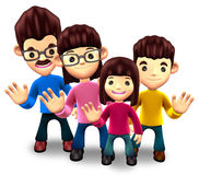 Happy family welcome. 3D Home Character Royalty Free Stock Images