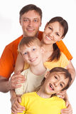 Happy family on white Stock Photo