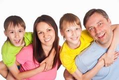 Happy family on white Stock Photos