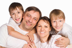 Happy family on a white Stock Photography