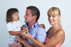 A happy family on white background. Stock Photography