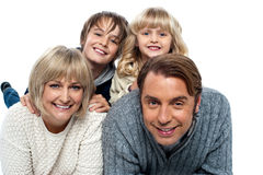 A happy family on white background Stock Images