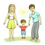 Happy Family On White Background Stock Photos
