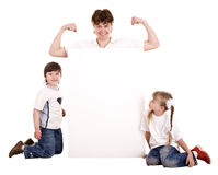 Happy family with white banner. Royalty Free Stock Images