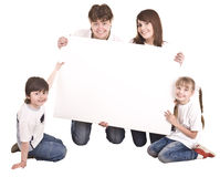 Happy family with white banner. stock photos