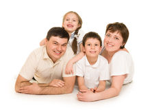 Happy family on white Royalty Free Stock Photography