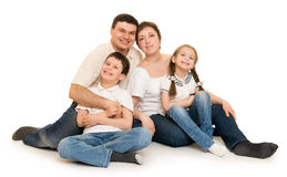 Happy family on white Royalty Free Stock Image