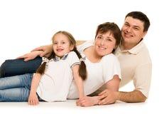 Happy family on white Stock Image