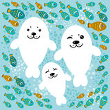 Happy family of white seals and fish on a blue background.  Stock Photography