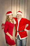 Happy family of wife and husband on Christmas stock photo
