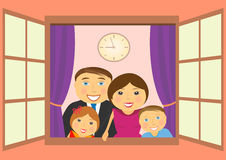Happy family in window. Cheerful happy family in big open window Stock Images