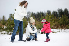 Happy family on a winter day Stock Photography