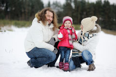 Happy family on a winter day Royalty Free Stock Photos