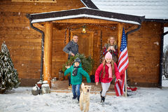 Happy family in winter -family, childhood, season, holidays and Stock Photo