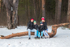 Happy family in the winter forest. Royalty Free Stock Image