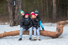 Happy family in the winter forest. Stock Photography