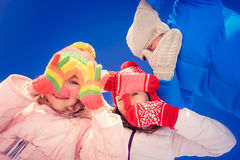 Happy family in winter Royalty Free Stock Image