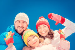 Happy family in winter Stock Photography