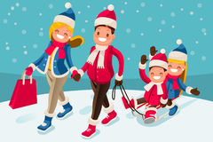 Happy Family in Winter Holidays Isometric People Royalty Free Stock Images