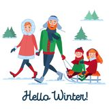 Happy Family on Winter Holidays. Parents with Kids Sledding. Hello Winter Season Royalty Free Stock Images