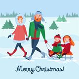 Happy Family on Winter Holidays. Parents with Kids Sledding. Merry Christmas Time Royalty Free Stock Photography
