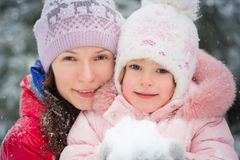 Happy family in winter Stock Image