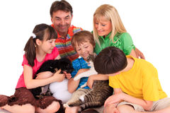 Happy Family With Pets Royalty Free Stock Image