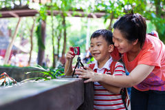 Happy family. Woman teaching boy photographing outdoors. Portrait of young women teaching little asian (thai) boy photographing outdoors using digital camera royalty free stock photos