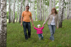 Happy family at the woods Stock Photography