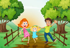 A happy family at the woods. Illustration of a happy family at the woods Stock Photos