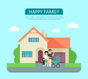 Happy Family in the Yard of Their House. vector illustration