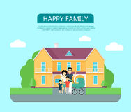 Happy Family in the Yard of Their House Royalty Free Stock Photo