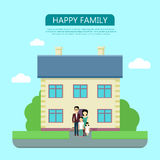 Happy Family in the Yard of Their House Stock Photos