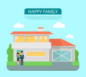 Happy Family in the Yard of Their House Royalty Free Stock Photos