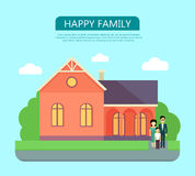 Happy Family in the Yard of Their House Stock Images