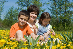 Happy family among yellow flowers Stock Photo