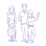 Happy family with young children hand drawn, doodle vector illustration Royalty Free Stock Photo