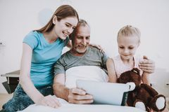 Happy Family and Young Girl. Old Man and Girl. Royalty Free Stock Photography