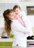 Happy family. A young mother and baby Stock Photography