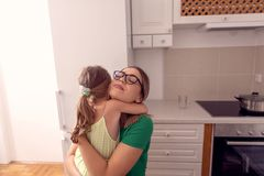 Happy family - Mother and daughter enjoying at home, happy, smiling royalty free stock photos
