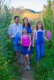 Happy familyg going fishing Royalty Free Stock Photography