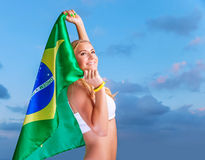 Happy fan of Brazilian football team Royalty Free Stock Photos