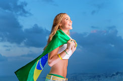 Happy fan of Brazilian football team Stock Image