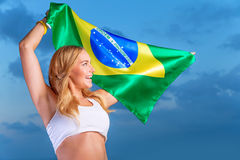 Happy fan of Brazilian football team Stock Photography