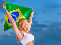 Happy fan of Brazilian football team Royalty Free Stock Photo